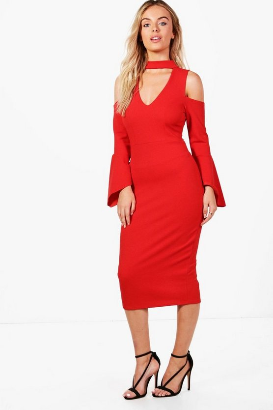 Choker Cold Shoulder Flute Sleeve Midi Dress