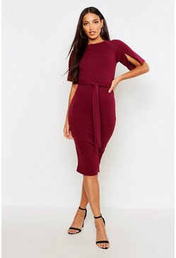 Womens Berry Split Sleeve Tie Waist Wiggle Midi Dress