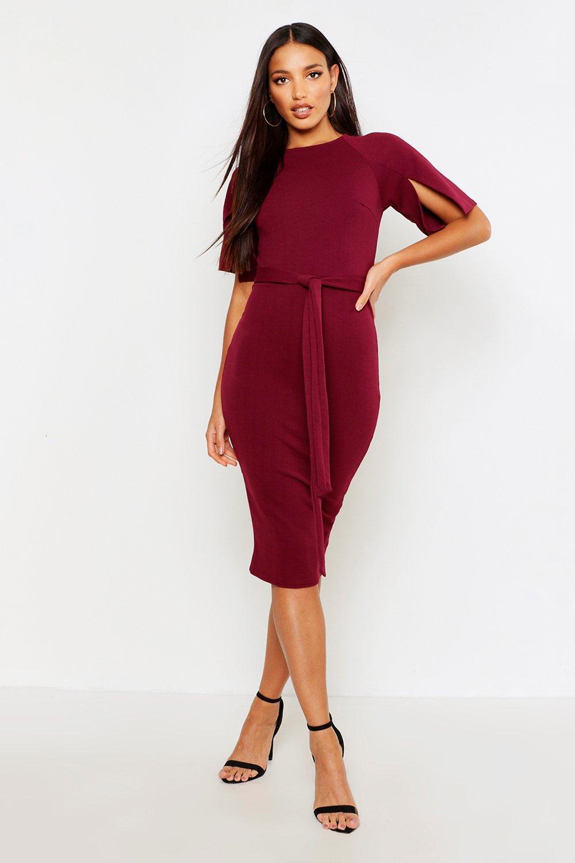975cf7c6ea93 Womens Berry Split Sleeve Tie Waist Wiggle Midi Dress. Hover to zoom