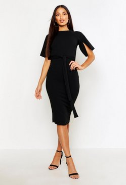 Black Split Sleeve Tie Waist Wiggle Midi Dress