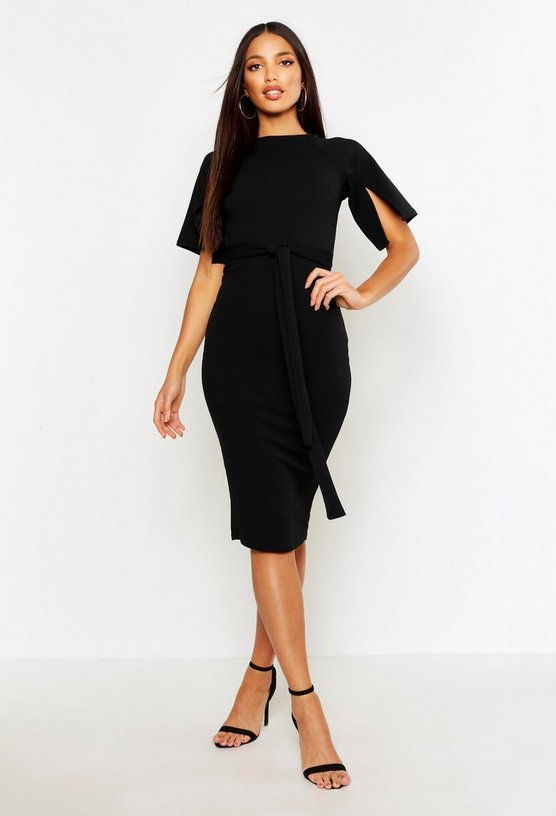 Womens Black Split Sleeve Tie Waist Wiggle Midi Dress
