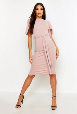 Split Sleeve Tie Waist Wiggle Midi Dress, Mink, Donna