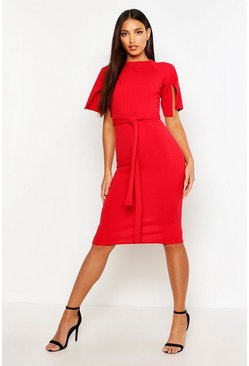 Red Split Sleeve Tie Waist Wiggle Midi Dress