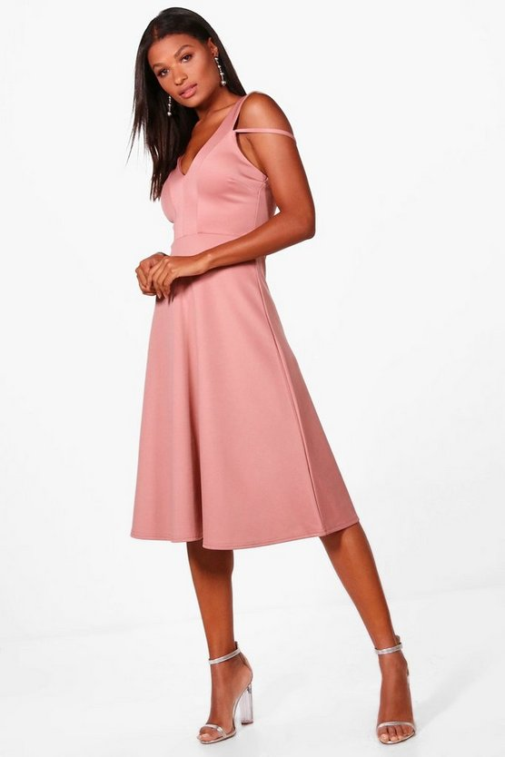 Cold Shoulder Strap Detail Midi Skater Dress