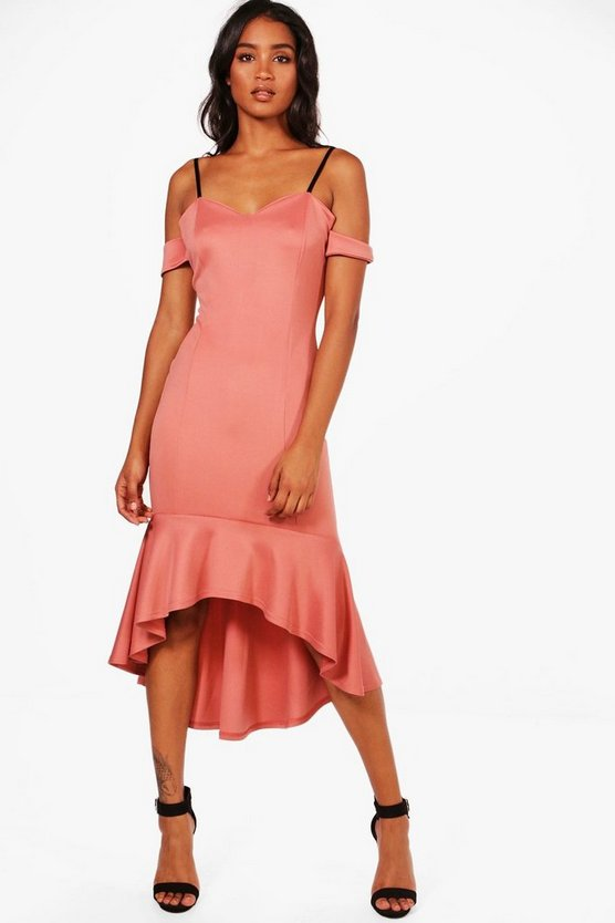 Cold Shoulder Flute Hem Midi Dress