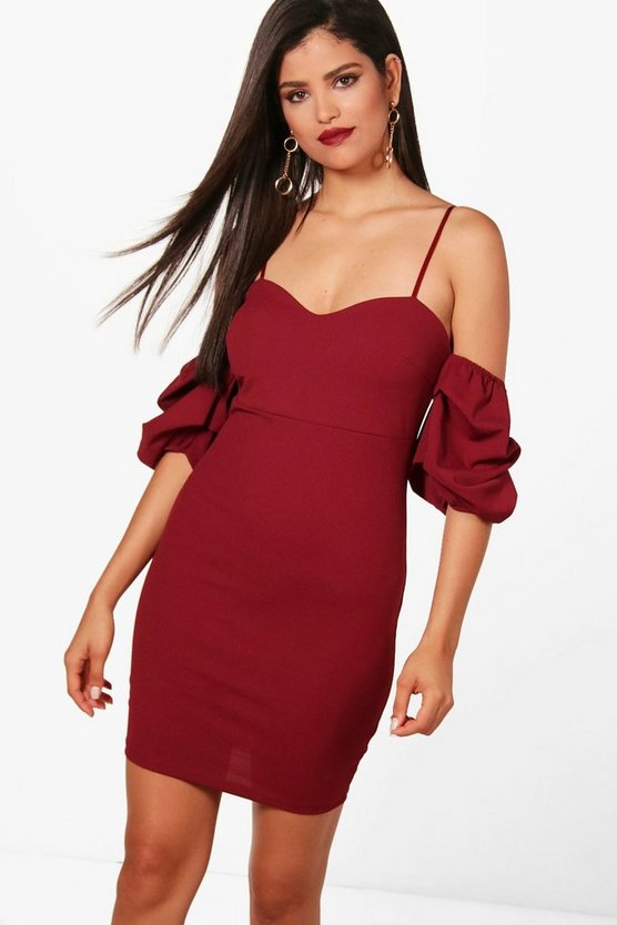 Womens Berry Charlie Puff Sleeve Bodycon Dress