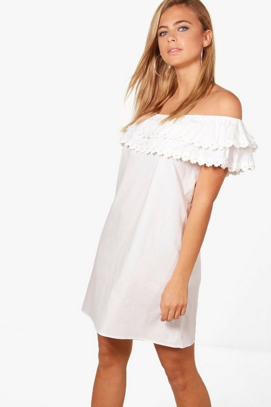 Pearl Lace Off Shoulder Shift Dress