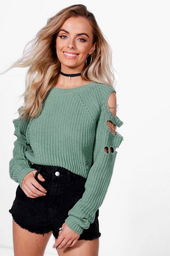 Alexandra Distressed Cold Shoulder Crop Jumper