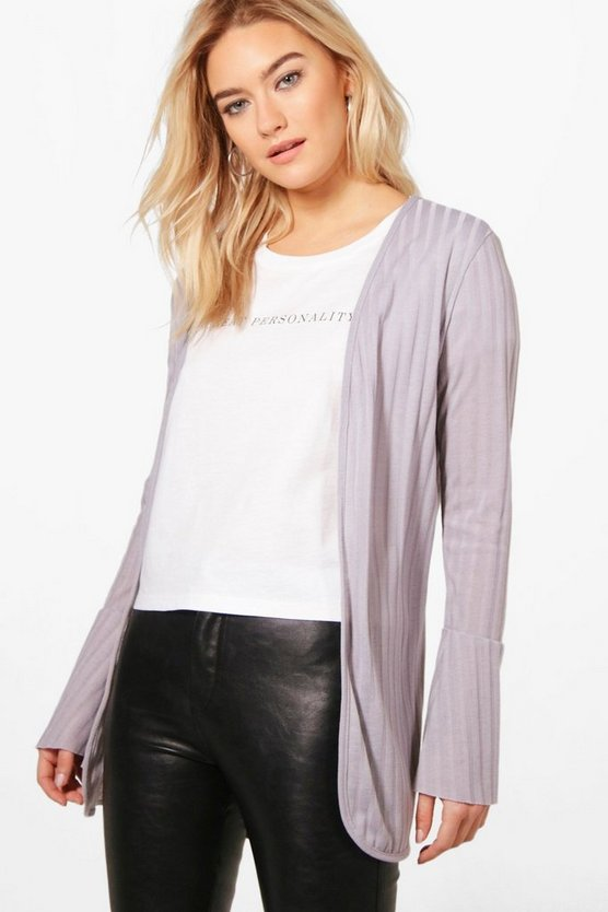 Kate Flared Cuff Rib Knit Cardigan