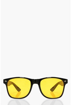 Eliza Yellow Lens Retro Sunglasses, Donna