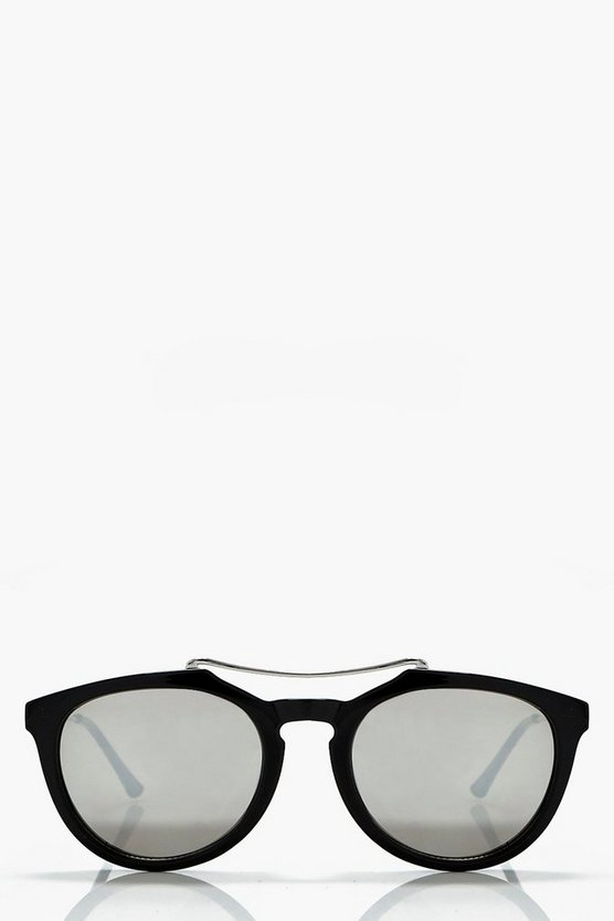 Harriet Brow Bar Retro Sunglasses, Черный, Женские