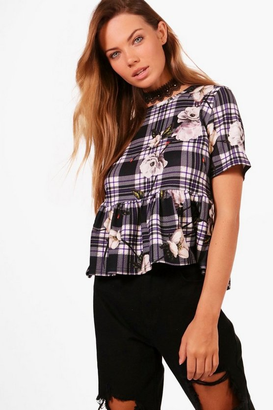 Harriet Floral Gingham Boxy Peplum