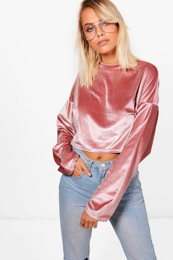 Lorna Crop Velvet Oversized Sweat