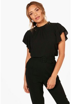 Womens Black Woven Frill Sleeve & Neck Blouse
