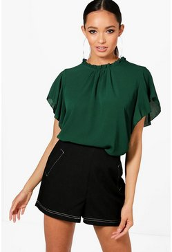 Blusa intessuta con maniche e collo a balze, Bottle, Femmina