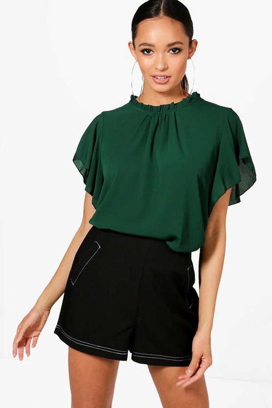 Womens Bottle Woven Frill Sleeve & Neck Blouse