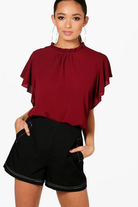 Womens Burgundy Woven Frill Sleeve & Neck Blouse