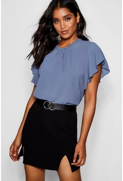Womens Cornflower blue Woven Frill Sleeve & Neck Blouse