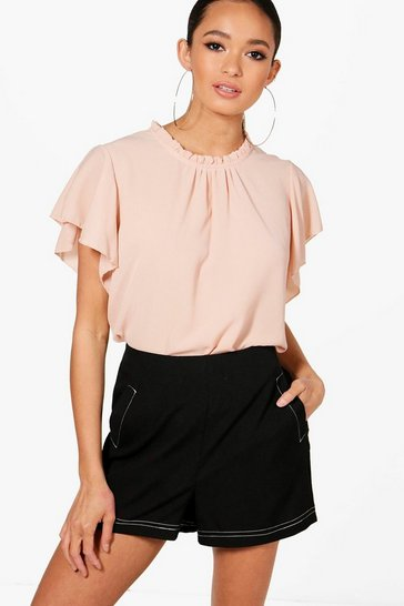 Womens Nude Woven Frill Sleeve & Neck Blouse