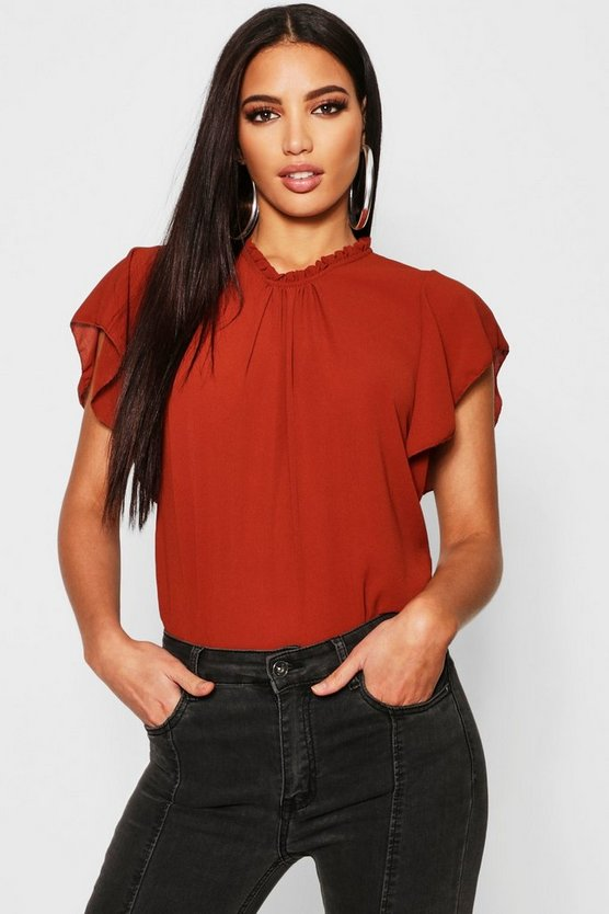 Woven Frill Sleeve & Neck Blouse