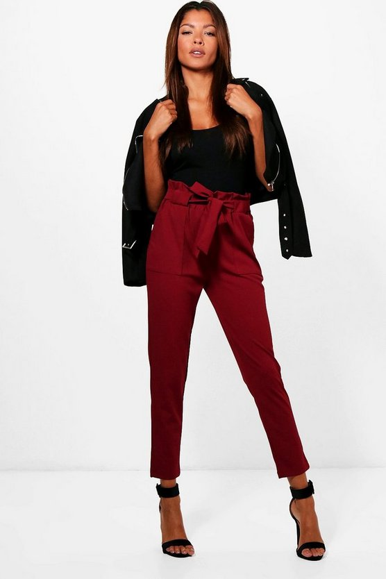 Womens Burgundy Paperbag Waist Belted Trouser