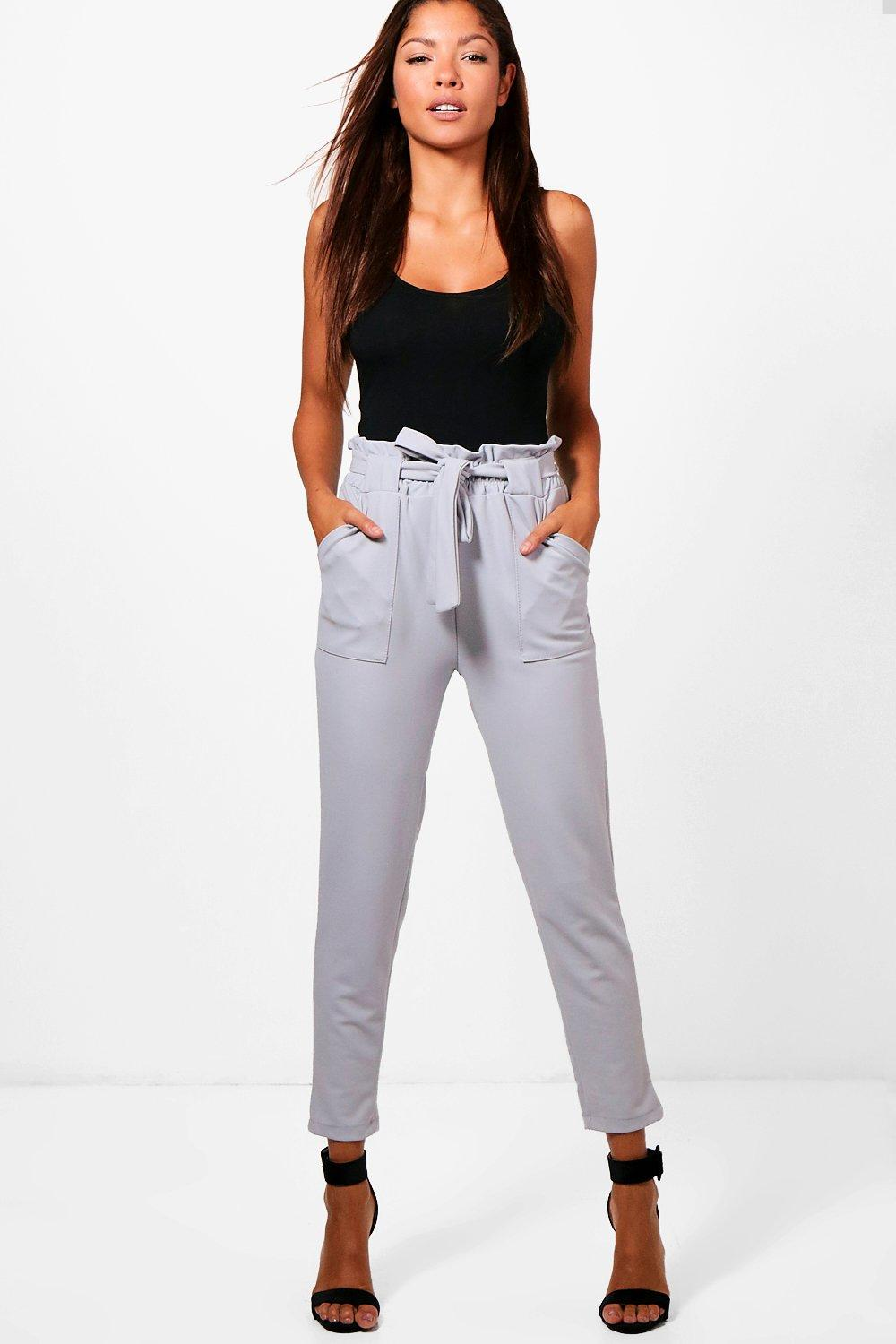 grey Waist Paperbag grey Trouser Trouser Waist Belted Belted Paperbag zaqAwFE