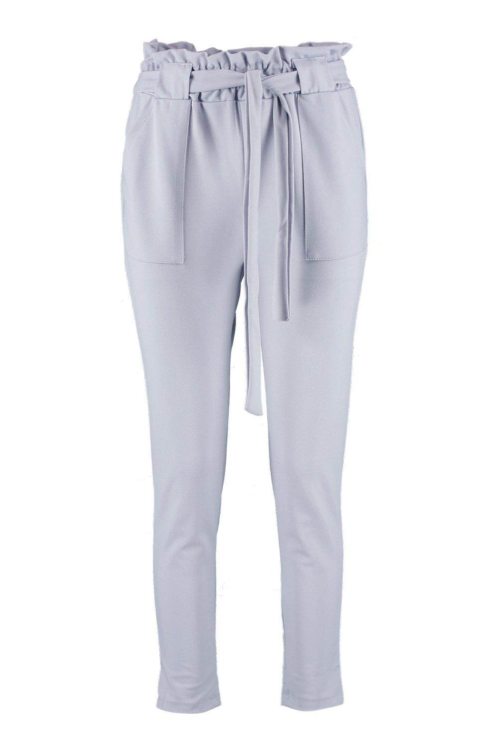 Waist Belted Paperbag Waist grey Paperbag Paperbag Belted Trouser grey Trouser qRF7wS