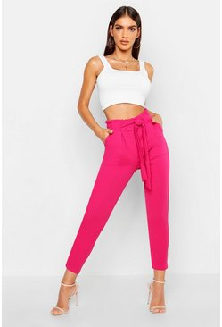 Womens Hot pink Paperbag Waist Belted Trouser