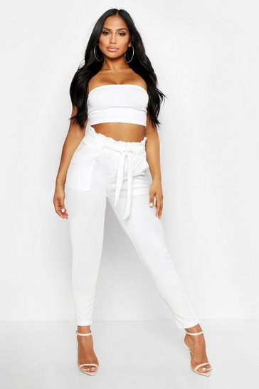 Womens White Paperbag Waist Belted Trouser