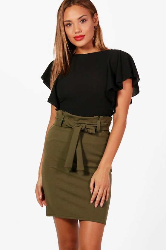 Womens Khaki Tailored Paper Waist Mini Skirt
