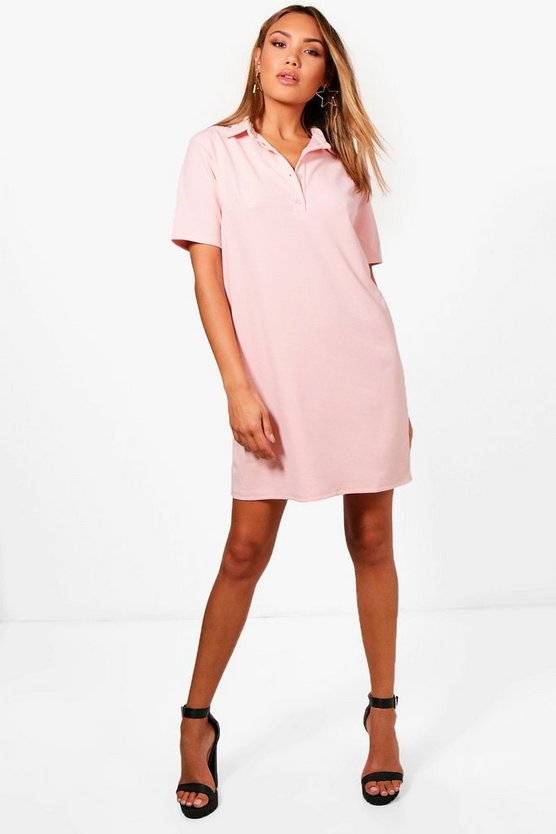 Elizabeth Button Up Collared Shift Dress