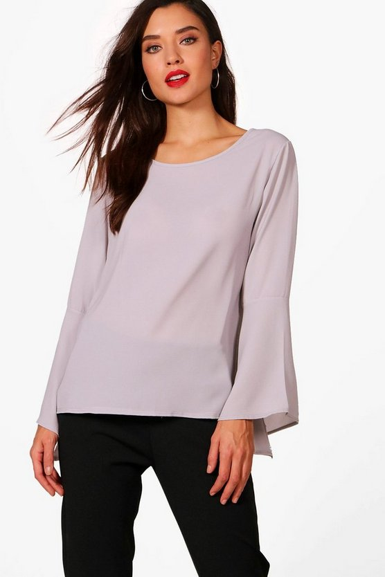 Womens Light grey Flute Sleeve Blouse