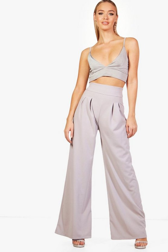 Pleat Front Wide Leg High Waist Trouser