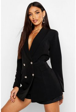 Womens Black Premium Silver Button Longline Blazer