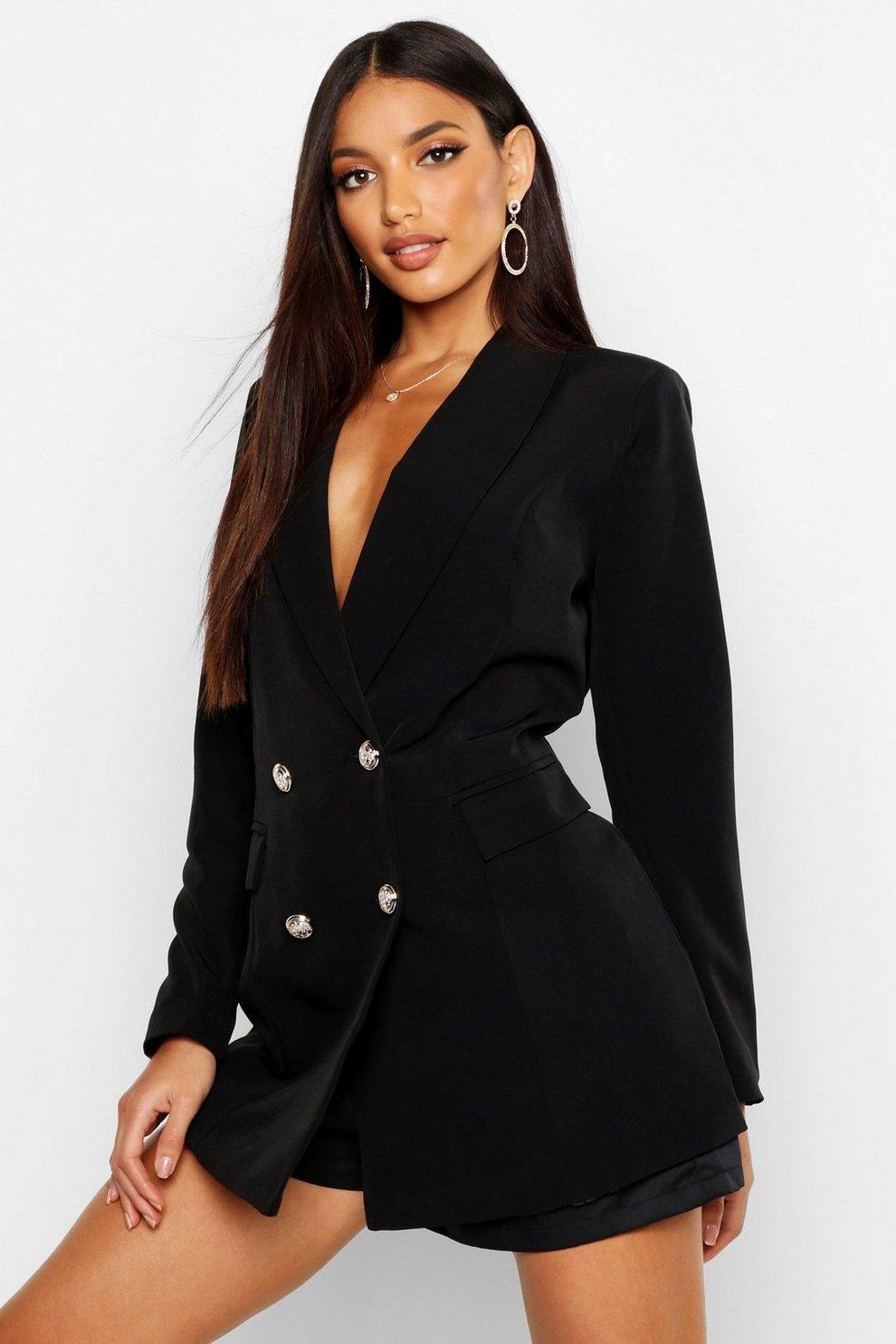 cb226bf9bb9a Womens Black Premium Silver Button Longline Blazer