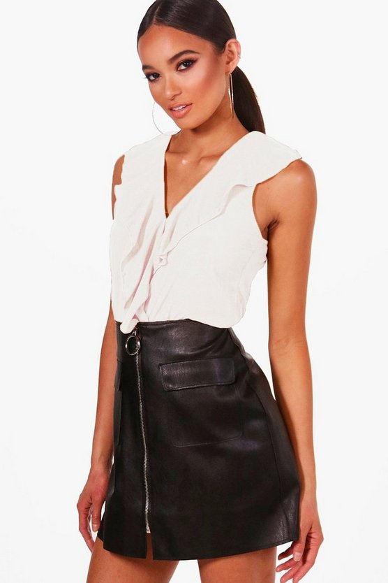Ruffle Front Sleeveless Blouse
