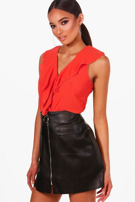 Womens Black Ruffle Front Sleeveless Blouse