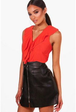 Dam Red Ruffle Front Sleeveless Blouse