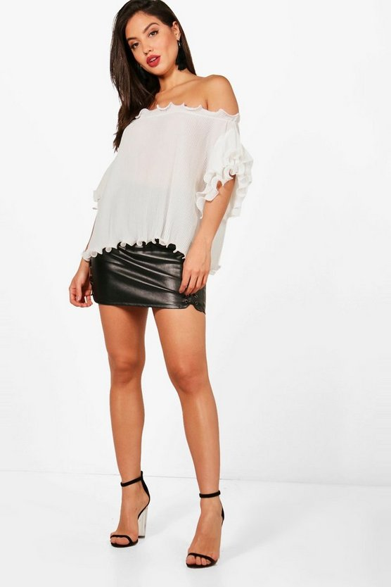 Crinkle Off The Shoulder Frill Sleeve Top