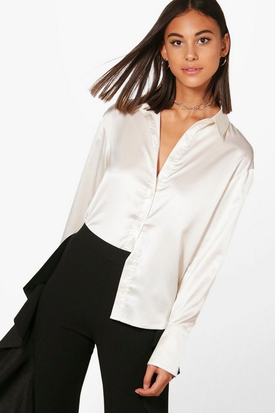 Womens Cream Premium Satin Shirt