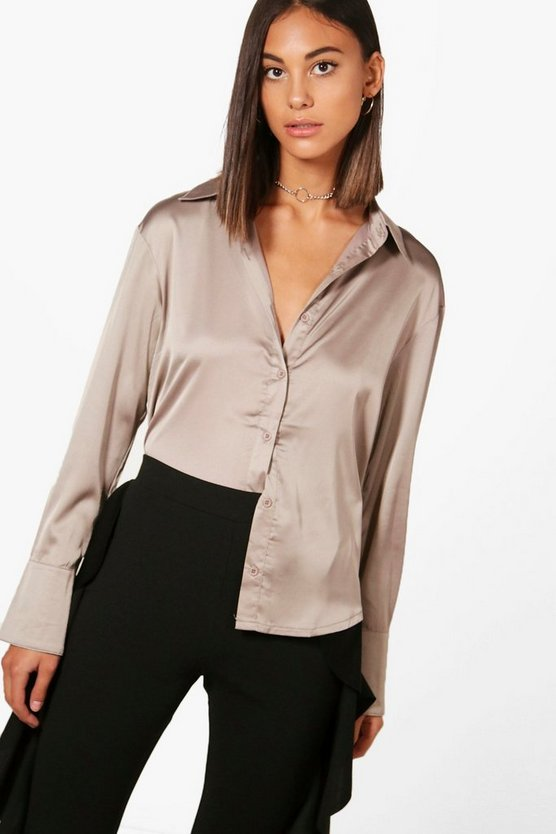 Womens Mocha Premium Satin Shirt