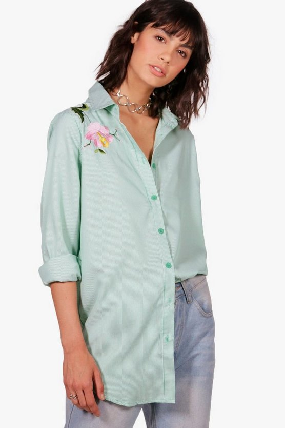 Lana Embroidered Stripe Cotton Shirt