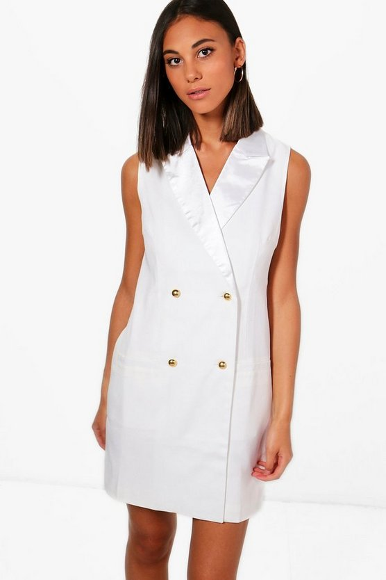 Sleeveless Double Breasted Tux Dress