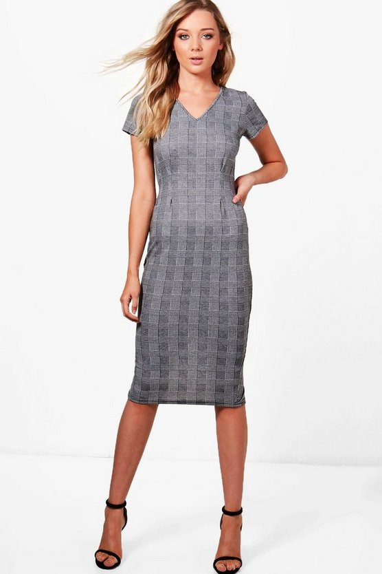 Pleat Front Belted Check Midi Dress