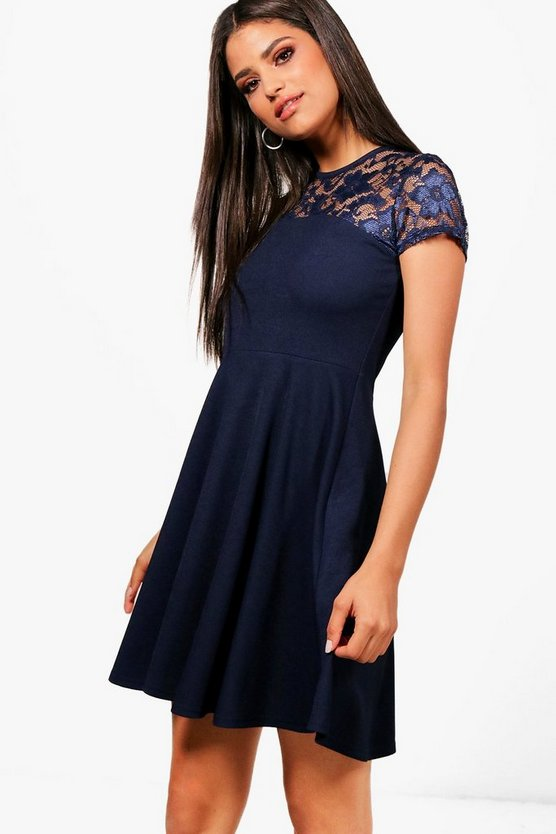 Womens Navy Lace Detail Skater Dress