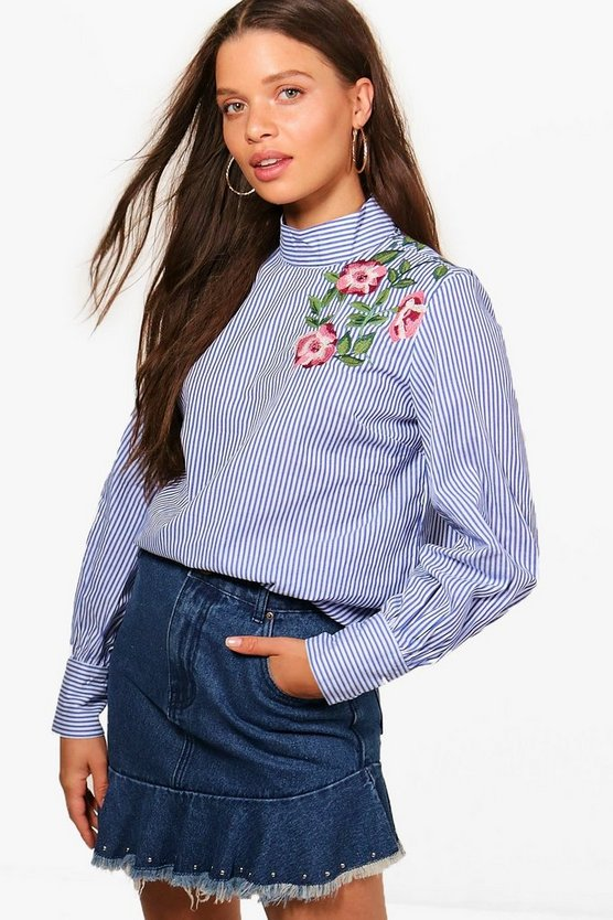 Megan Striped Embroidered Shirt
