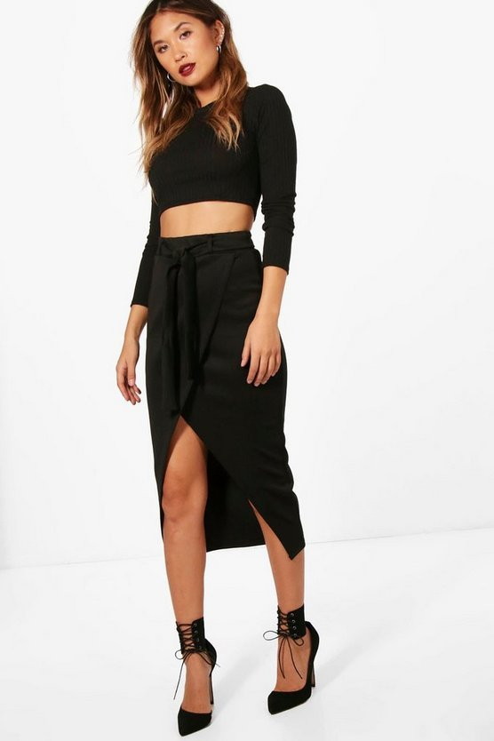 Wrap One Tie Waist Midi Skirt