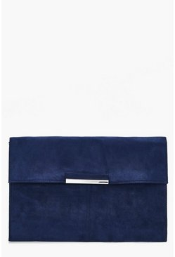 Womens Blue Suedette Coloured Clutch