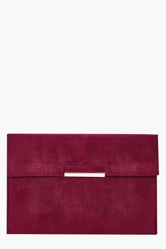 Womens Wine Suedette Coloured Clutch