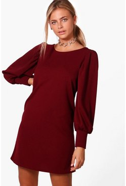 Womens Puff Sleeve Tailored Dress